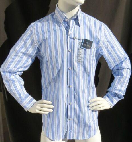 NEW NWT TAILORBYRD Collection WHITE BLUE STRIPE 100/% COTTON L//S DRESS SHIRT sz M