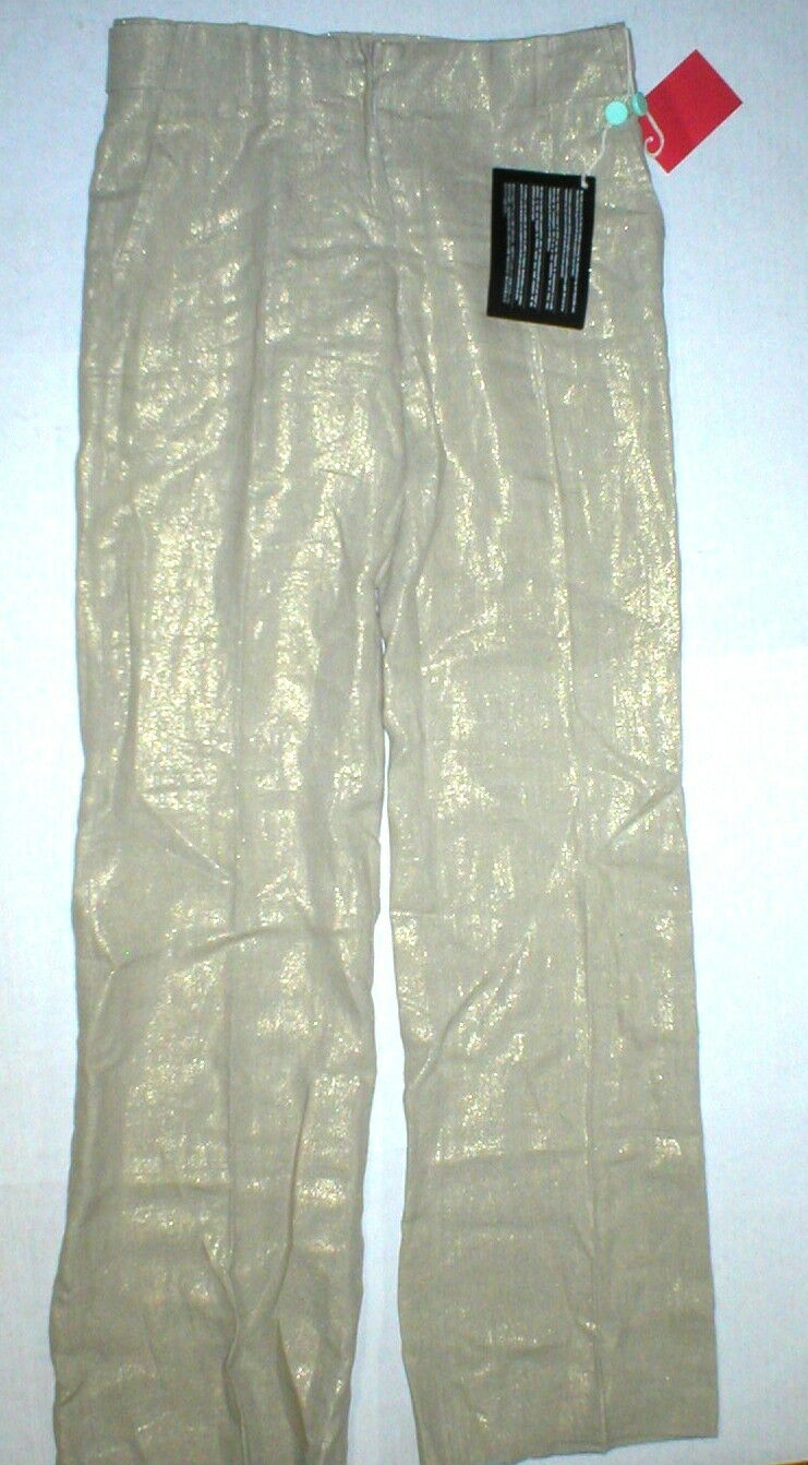 New NWT Womens  Designer bluemarine Linen Pants Metallic gold Tall 28 X 36