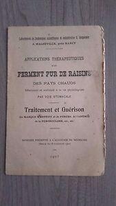 FERMENT PUR DE RAISINS TRAITEMENT&GUERISON PAR VOIE STOMACALE FASCICULE 1903