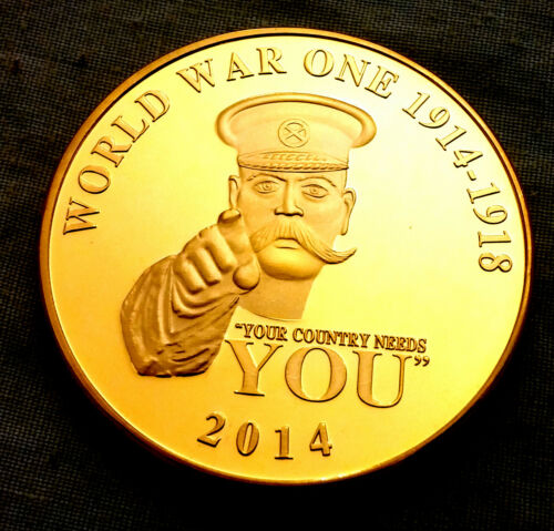 World War I Gold Coin II Your Country Needs You Uncle Sam Army Navy RAF Military