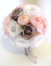 17 piece Wedding Flowers Bridal silk Bouquet Light PINK GRAY SILVER Grey Package