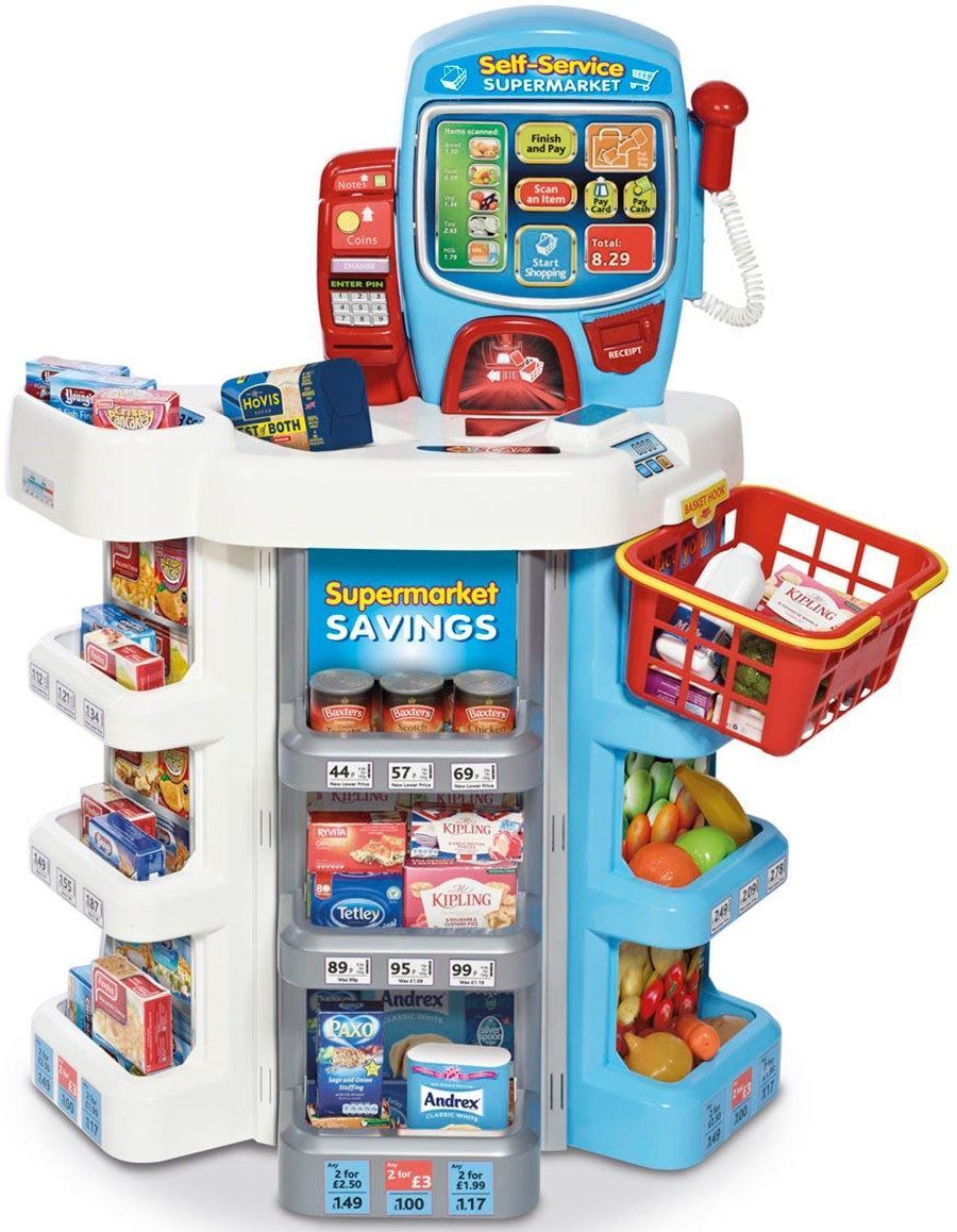 Casdon SELF-SERVICE SUPERMARKET TILL Little Shopper Play Food Shop Toy BN