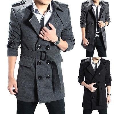 New Arrival Long Section Mens Fashion Korean Slim Woolen Coat Jacket Outwear Pop