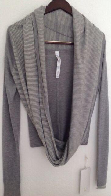 f393a81a2a LULULEMON Iconic Wrap Sweater Heathered Medium Light Grey Grey Stripe Sz 2  NWT