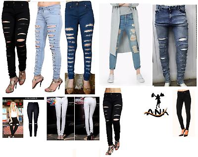 Women Ripped Knee Cut Jeans Faded Slim Fit Skinny Denim Sizes 6 To 22 High Waist GläNzend