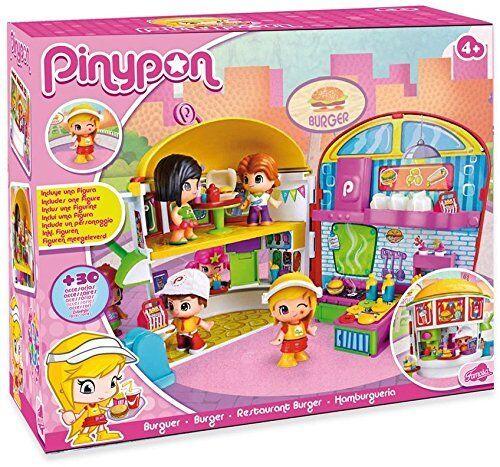 Pinypon restaurante Burger incluye una figura de la camarera Pin y Pon