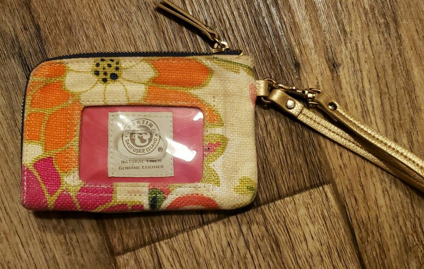 Spartina Daufuskie Island Linen & Leather Pink Floral Wristlet Wallet