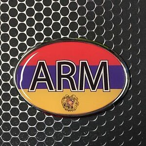 afb345de6fba0 Details about ARMENIA Oval Flag CHROME Emblem Proud Car OVAL Domed sticker  3D 3.25