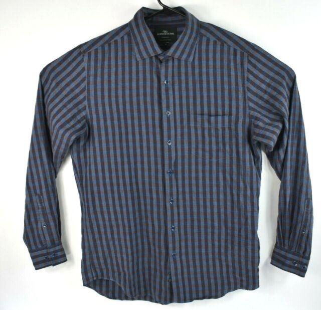 Rodd & Gunn Mens Long Sleeve Button Up Shirt Blue Check Size Woven in Italy Sz M
