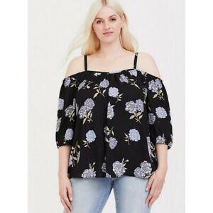 495f4c14272691 Image is loading Torrid-Black-Floral-Georgette-Cold-Shoulder-Top-Size-