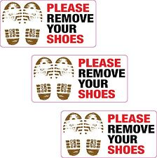 3x Please Remove Your Shoes Printed Vinyl Sticker Home Mosque Gym Pool