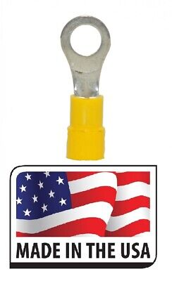 """100 12-10 AWG 1//4/"""" Slim Style Yellow Vinyl Ring Electrical Terminal Made In USA"""