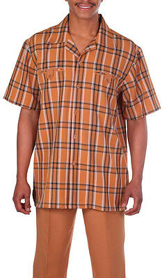 Men's summer 2-pc walking suit (shirt and pants),plaid design, solid pants #2952
