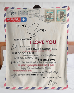 To My Son Never Forget That I Love You From Mom Letter Sherpa Fleece Blanket