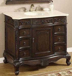 40 Inch Single Sink Bathroom Vanity With Cream Marble Top Item 4140 Ebay