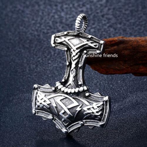 Thors Hammer Anhänger wuchtig Edelstahl Mjölnir Wikinger Herren ohne Kette