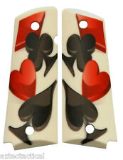 Custom Full Size 1911 Grips 4 Suits Diamond Spade Heart Club Colt Sig Ruger etc