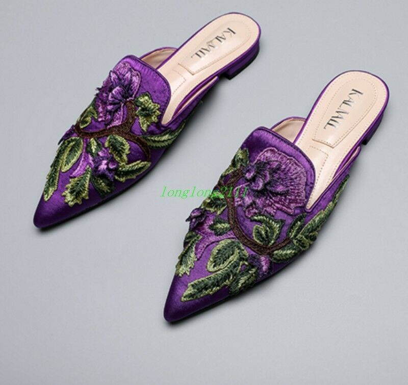 Donna Embroidery Backless Pointed Toe Occident Loafers Backless Embroidery Slipper Princetown Mules b99cd8