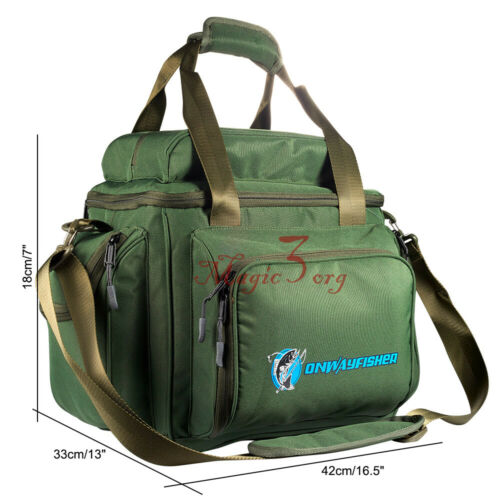 Large Fishing Tackle Bag Green Heavy Duty Storage Shoulder Bag Water-resistant