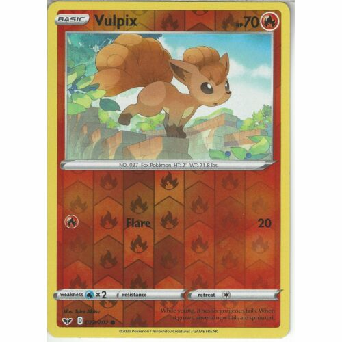 022//202 VulpixCommon Reverse Holo Card Pokemon TCG Sword /& Shield Base Set