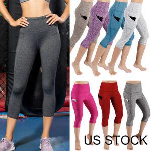 90b1b35a7175e Women Capri Yoga Pants Gym Fitness Sports Cropped Leggings High Rise ...