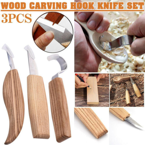 3pc Carving Woodcarving Tools Kit Hook Spoon Knives Whittling Beaver Craft Steel