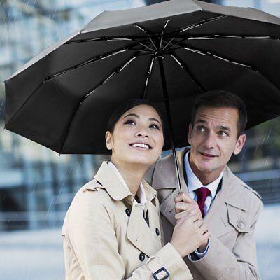 Delizioso Ombrello Automatico Extra Forte 10 Costole Rafforzare Ombrello Pieghevole Nero-mostra Il Titolo Originale