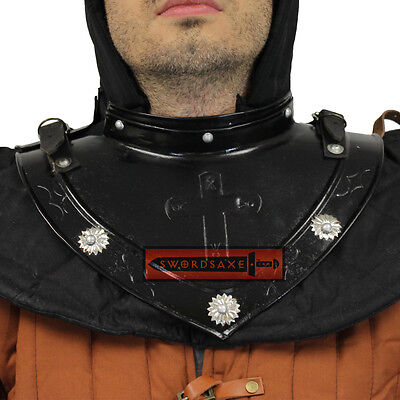Plate Gorget Medieval Neck /& Throat Armor Steel Knights Templar Crusader Cross