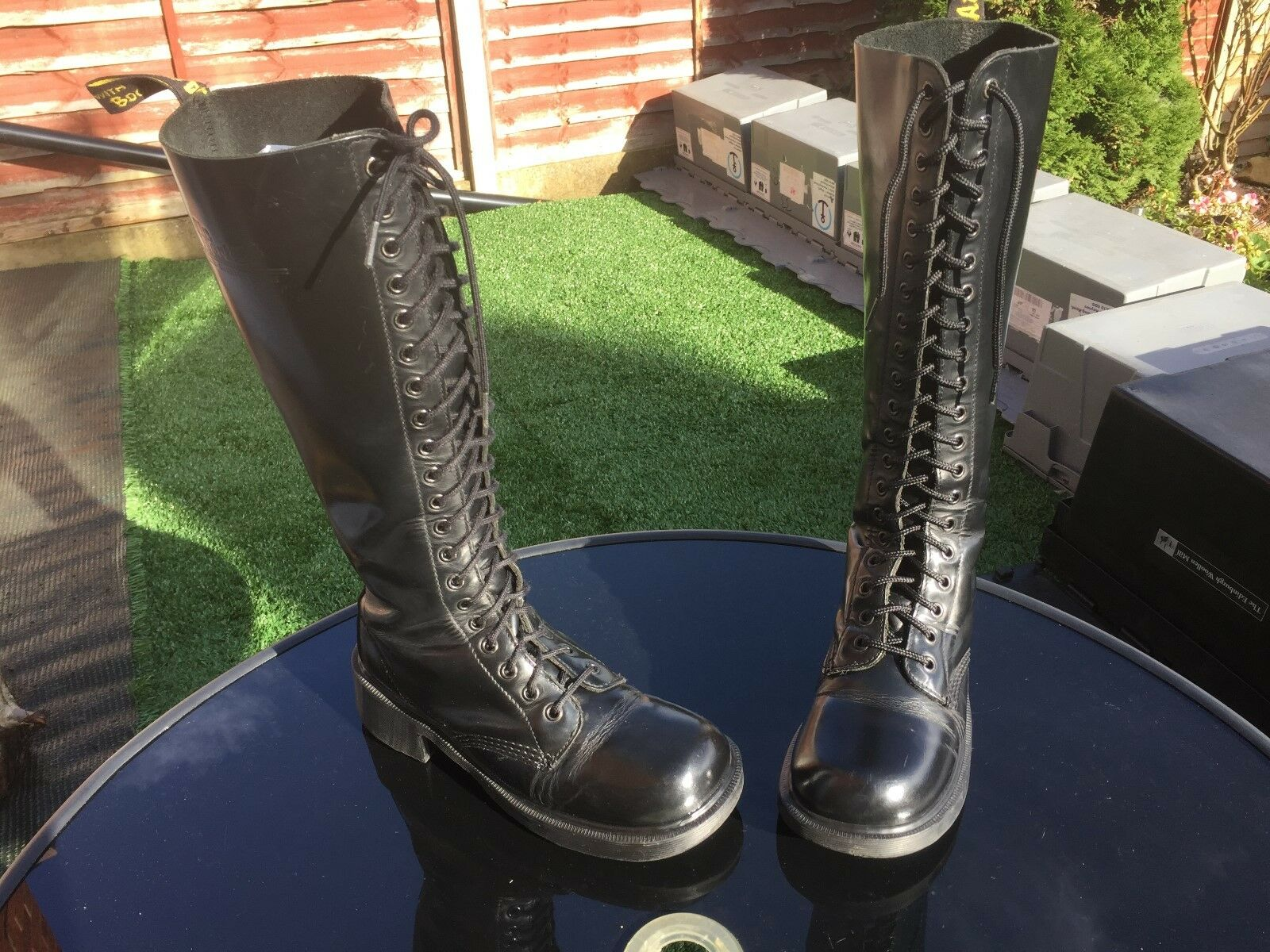 VINTAGE Dr Martens 1420 Nero Liscio Stivali in Pelle EU 39 Made in England