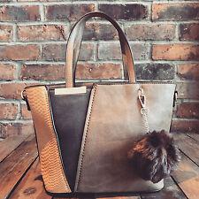 Womens Brown & Blue Moda Tote Handbag Faux Leather & Free River Island Gift