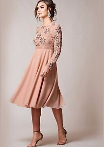 Virgos Lounge Peach Giovanna Long Sleeve Midi Fit Flare Party Prom