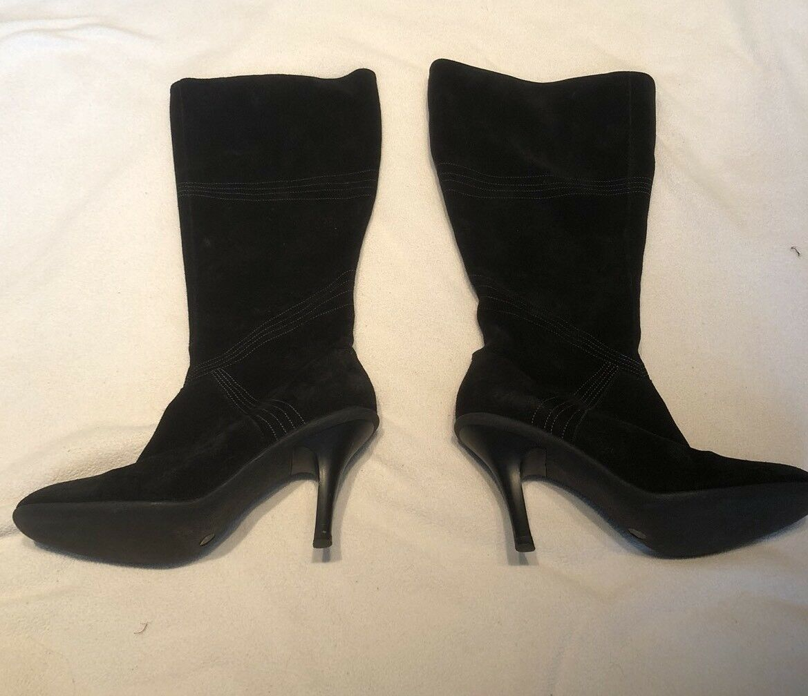 BCBGMaxazria Black Suede Boots with Embroidery Stitching Size 6 36