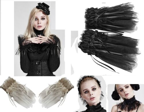 Punk Rave 3in1 Gothic Lolita Guanti collo cappa Steampunk GLOVE collar ls43
