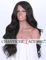 "Best Realistic Synthetic Wig Black Long Wavy Full Wig For Women Heat Safe UK 24"""