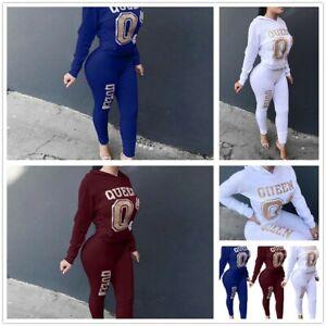 US-2Pcs-Women-Letter-Printing-Hoodie-Tracksuit-Set-Casual-Sport-Sweat-Suits-Set