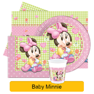 Disney-BABY-MINNIE-Mouse-Birthday-Party-Range-Tableware-Supplies-Decorations