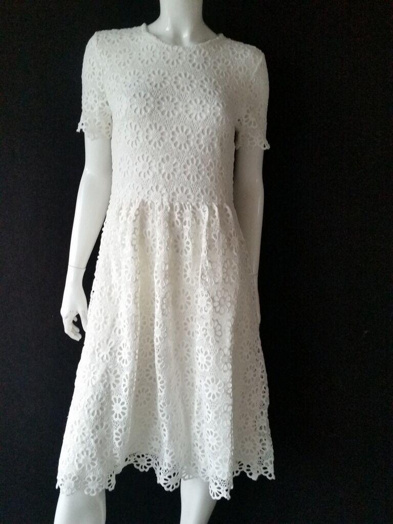 HALLHUBER Kleid weiß offWeiß Häkelspitze  Gr.34--UK6NEU