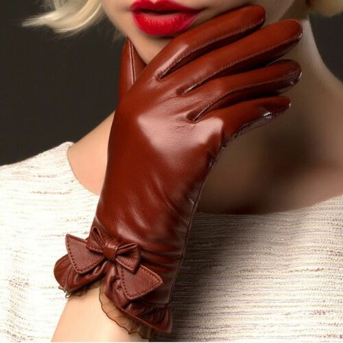 Gloves Fashion Sheepskin Wrist Lace Adult Women Leather Thermal Winter Driving