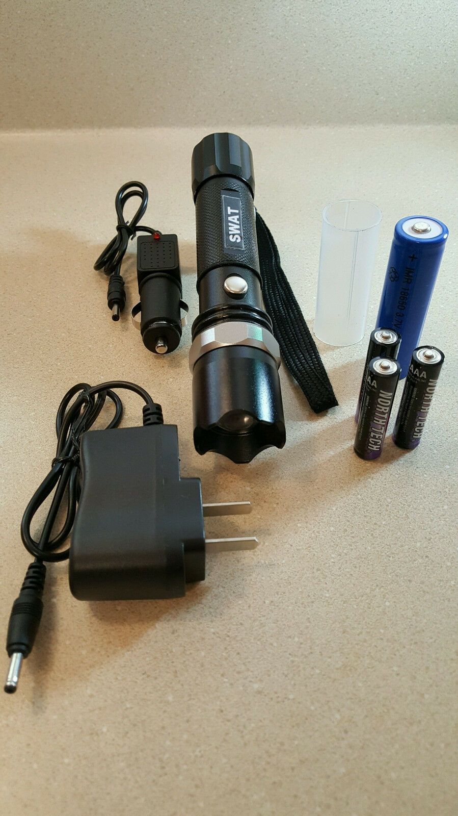 Tactical Police Rechargeable LED Zooming Flashlights  6 Sent 18650 and AAAs Incl.  enjoying your shopping