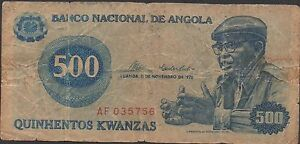 Aggressive Angola 500 Kwanzas 11.11.1976 P 112a Prefix Af Circulated Banknote Pure And Mild Flavor Coins & Paper Money