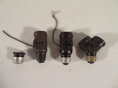Vintage Bakelite Eagle Pull Chain Light Receptacle 759 NOS NIB Box Fixture White