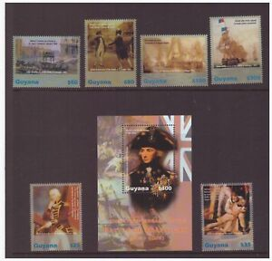 Guyana-neuf-sans-charniere-Stamp-Set-amp-feuille-2005-Battle-of-Trafalgar-200TH-Anniversaire