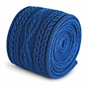 plain-royal-blue-knitted-tie-with-cable-knit-design-by-Frederick-Thomas-FT3293
