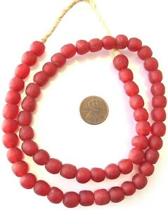 58-Ghana-handmade-Mala-Red-Krobo-recycled-Glass-African-trade-Beads-Ghana