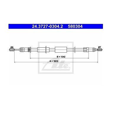 Handbremsseil Bremsseil Seilzug NEU ATE 24.3727-0112.2