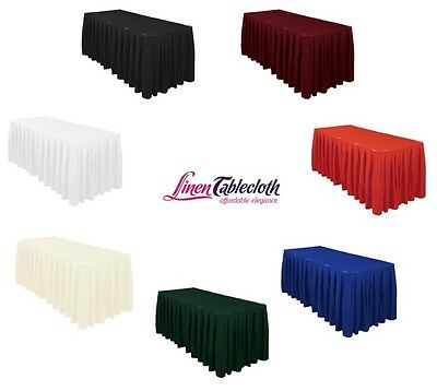 Accordion Pleat Polyester Table Skirt Burgundy LinenTablecloth 21 ft