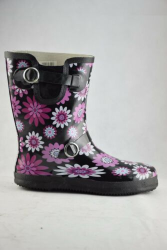 Stormwells Black Pink Flowers Wellingtons Ladies Rain Boots Wellies Buckle