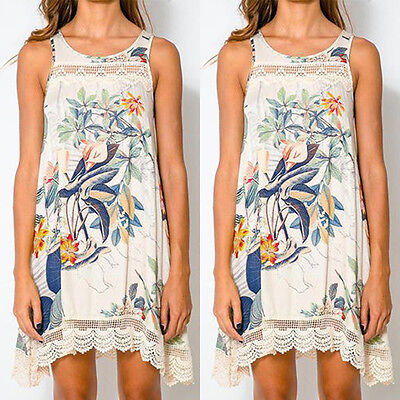 New Summer Womens Floral Print  Lace Sleeveless O-Neck Beach Boho Maxi Dress