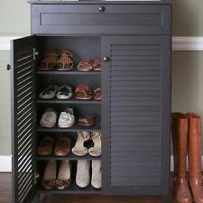 Item 3 Wooden Shoe Storage Shelf Cabinet Dark Brown Espresso Slatted Doors Drawer Decor