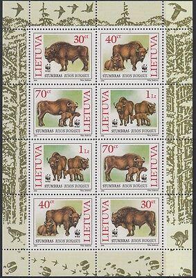 1996 Naturschutz Wisent 599-602 Kleinbogen **, 19593 Schneidig Litauen